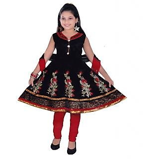 Sarrah Cotton Black Salwar Suits For Girls (Size: 6 to 7 years)