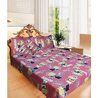 Homefab India 100% cotton Double Bed Sheet With 2 Pillow Covers (DBS041)