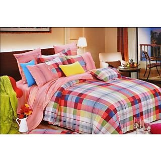 Valtellina mesmeric Check and Line Print Design Double Bed Sheet (CS-018)