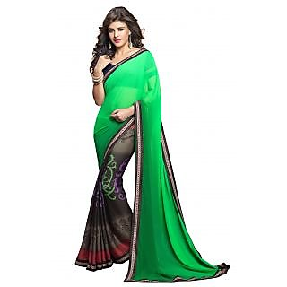 Green Printed Saree With Brown Borders