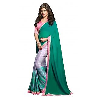 Green Printed saree With Light Pink Border and Blouse