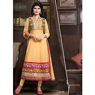 Kavyasarees Classy Orange Partywear Anarkali Semi Stitched Suit 1008-1110B