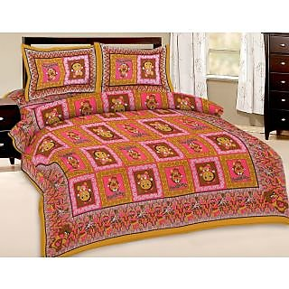 Shop Rajasthan Multi Colour Floral Print Pure Cotton Double Bed Sheet/SRA2728