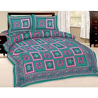 Shop Rajasthan Multi Colour Floral Print Pure Cotton Double Bed Sheet/SRA2729