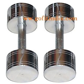 Solid steel Round Dumbbells 5 kg X 2 Pcs body maxx