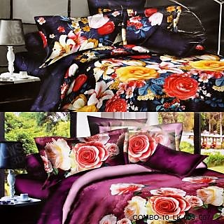 VALTELLINA SET OF 2 DOUBLE BED SHEET WITH 4 PILOW (COMBO-10-LK003007)
