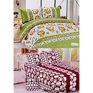 Valtellina set of 2 Double Bad Sheets with 4 pillow covers(COMBO-26_GO-001_029)