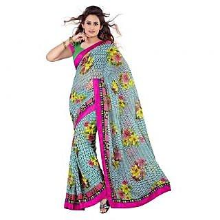 Triveni Pink Chiffon Printed Saree With Blouse