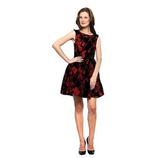 Xny Red Burnout Floral Dress