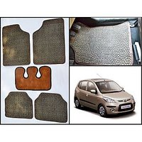 Washable Car Floor Mats For Hyundai I10 - (Paw Design - Brown & Black)