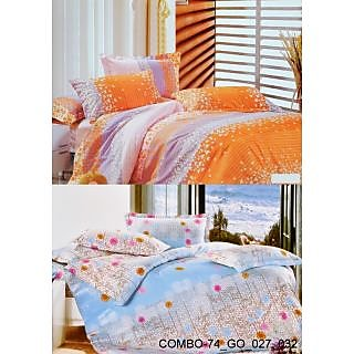 Valtellina set of 2 Double Bad Sheets with 4 pillow covers(COMBO-74_GO_027_032)