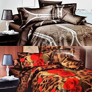 VALTELLINA SET OF 2 DOUBLE BED SHEET WITH 4 PILOW(COMBO-45-LK012027)