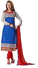 Florence Royal Blue Queen Embroidered Pure Cotton Suit (Unstitched)