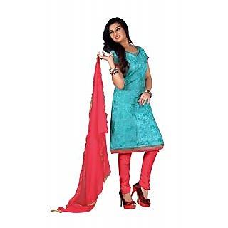 Florence Blue Chandani vol 2 Embroidered Chanderi Cotton Suit