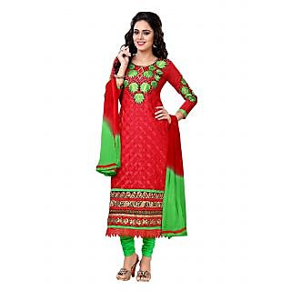 Florence Red Gouri Embroidered Chanderi Cotton Suit