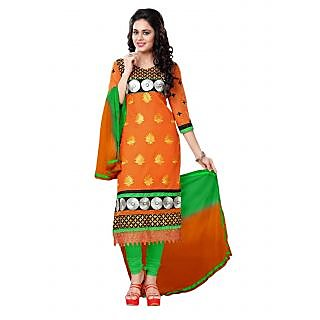 Florence Green And Orange Cotton Embroidered Salwar Suit Dress Material (Unstitched)