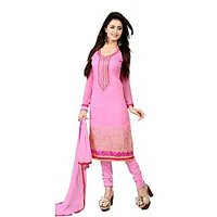 Florence Pink pari Embroidered Chanderi Cotton Suit
