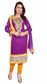 Florence Purple Polycotton Embroidered Salwar Suit Dress Material (Unstitched)