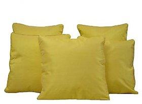 Home Shine Cushion Cover Plain Dupian With Silver Dori Yellow 5 Pc hs0007
