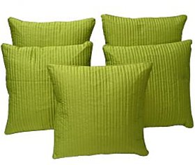 Home Shine Cushion Cover Quilting With Matching Dori Parrot Green 5 Pc hs0038