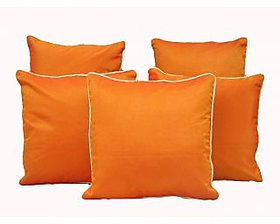 Home Shine Cushion Cover Plain Dupian With Silver Dori Orange 5 Pc hs0002