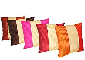 Home Shine Cushion Cover 3 Stripes Quiliting Multicolor 5 Pc hs0014