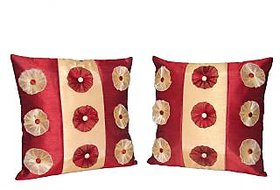 Home Shine Cushion Cover 9 Flower Fone+ Maroon  2 Pc hs0032