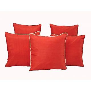 Home Shine Cushion Cover Plain Dupian With Silver Dori Red 5 Pc hs0004