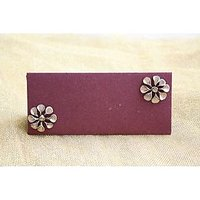 Handmade Money Envelope Maroon With Golden Flower (set Of 10 )