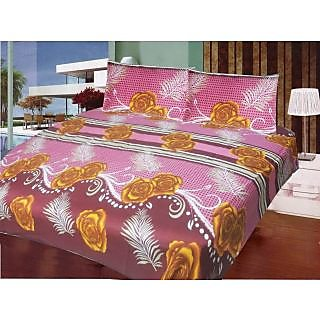 Homefab India 100 cotton Double Bed Sheet With 2 Pillow Covers (DBS057)