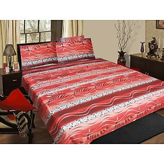 Homefab India 100% cotton Double Bed Sheet With 2 Pillow Covers (DBS060)
