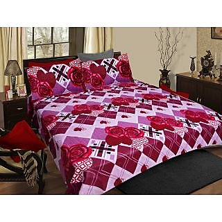 Homefab India 100% cotton Double Bed Sheet With 2 Pillow Covers (DBS071)