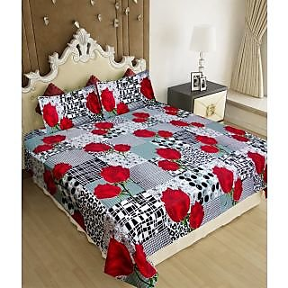 Homefab India 100 cotton Double Bed Sheet With 2 Pillow Covers (DBS073)