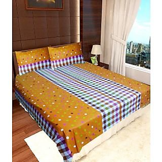 Homefab India 100% cotton Double Bed Sheet With 2 Pillow Covers (DBS074)