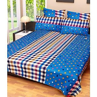 Homefab India 100 cotton Double Bed Sheet With 2 Pillow Covers (DBS075)