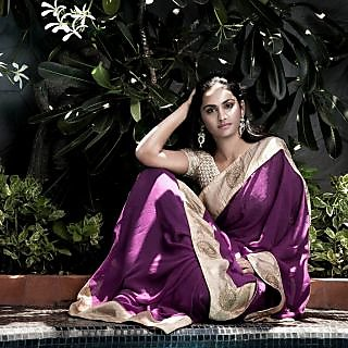The Orchid Beauty Crochet Party Wear Saree Lavender