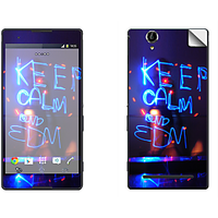 Skintice Premium Vinyl Skin For Sony Xperia T2 Ultra Dual, Design - Keep Calm And Edm