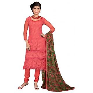 dacb8f57e2f Suchi Fashion Heavy Embroidery Peach Unstitched Georgette Salwar Suit with  Printed Dupatta