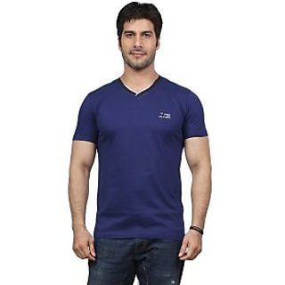 Unfold Navy Cotton T-Shirt With Vneck