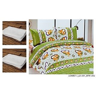 Valtellina Set of 1 Double Bed Sheet With 2 Hand Towels(Combo-1GO-001HTW-002)
