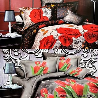 Valtellina set of 2 double bedsheet with 4 pilow covers(COMBO-53_7AM-004_012)