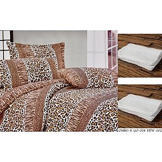 Valtellina Set of 1 Double Bed Sheet With 2 Hand Towels(Combo-8GO-008HTW-002)