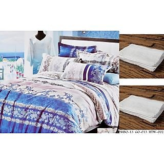 Valtellina Set of 1 Double Bed Sheet With 2 Hand Towels(Combo-13GO-013HTW-002)