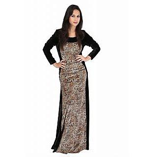 glamiss tiger black printed velvet western dress