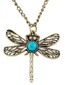 Girlz! Blue Dragonfly Necklace Pendant With Chain - SV-MJYD-3DVB