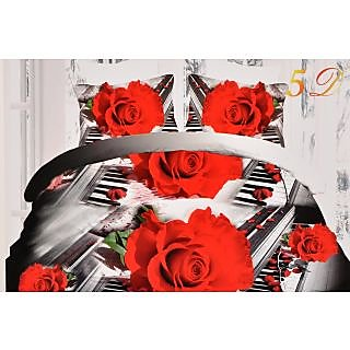 Valtellina Charming roses With music  Print Double Bed Sheet (CA-023)