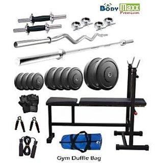 Body Maxx Premium 40 Kg Home Gym Set of 4 rods+multi bench+gloves+gym bag+rope