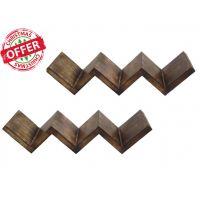 Crafts'man Wooden Wall Bracket Book Shelf W-Shape,Dark Burnt Antique Matte Finish(Set Of 2)