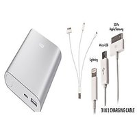 DMP Mi 10400 MAH Power Bank Silver Colour With 3 In 1 Usb Charger