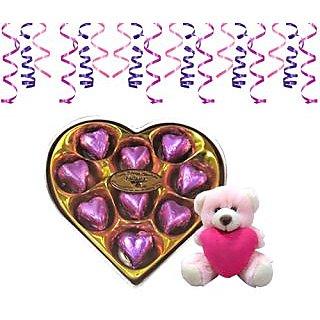 Chocholik's Classic Heart Shape Chocolates With Teddy